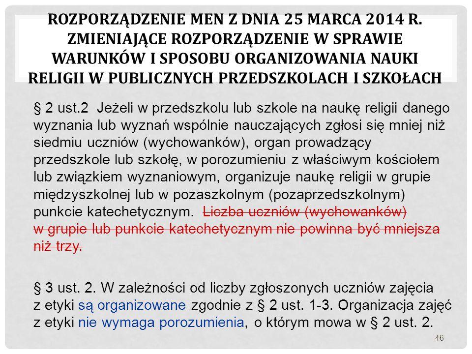Rozporządzenie MEN Z dnia 25 marca 2014 r