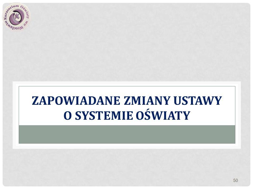 Zapowiadane zmiany ustawy o systemie oświaty
