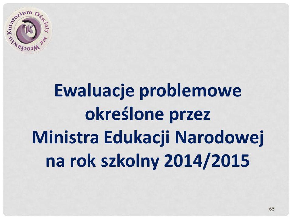 Ewaluacje problemowe określone przez Ministra Edukacji Narodowej na rok szkolny 2014/2015