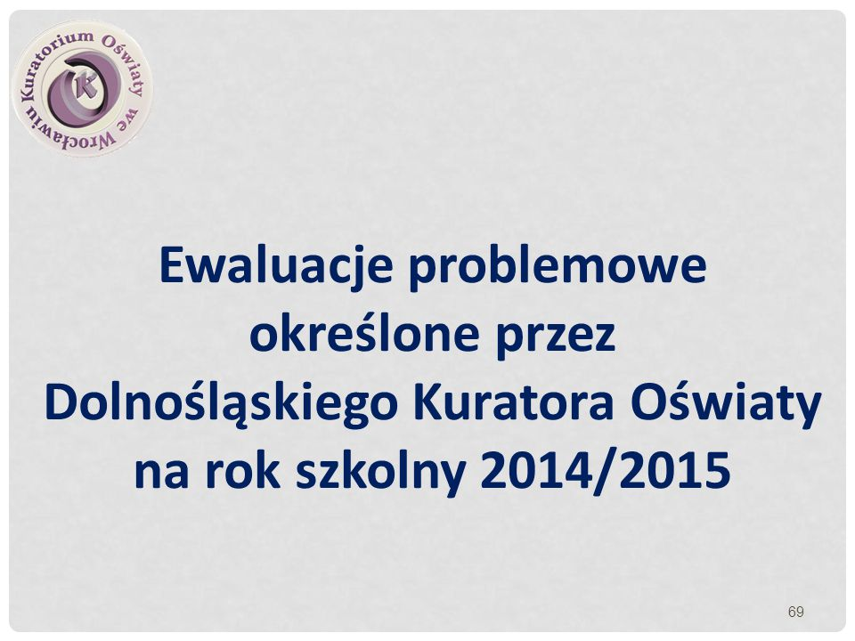 Ewaluacje problemowe określone przez Dolnośląskiego Kuratora Oświaty na rok szkolny 2014/2015
