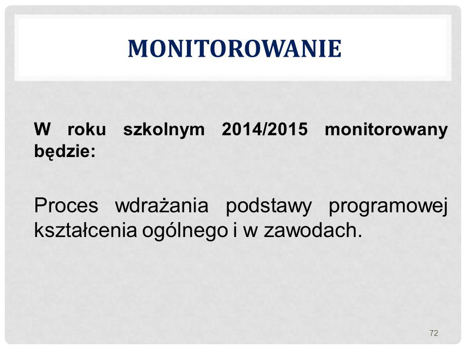 Monitorowanie W roku szkolnym 2014/2015 monitorowany będzie: Proces wdrażania podstawy programowej kształcenia ogólnego i w zawodach.