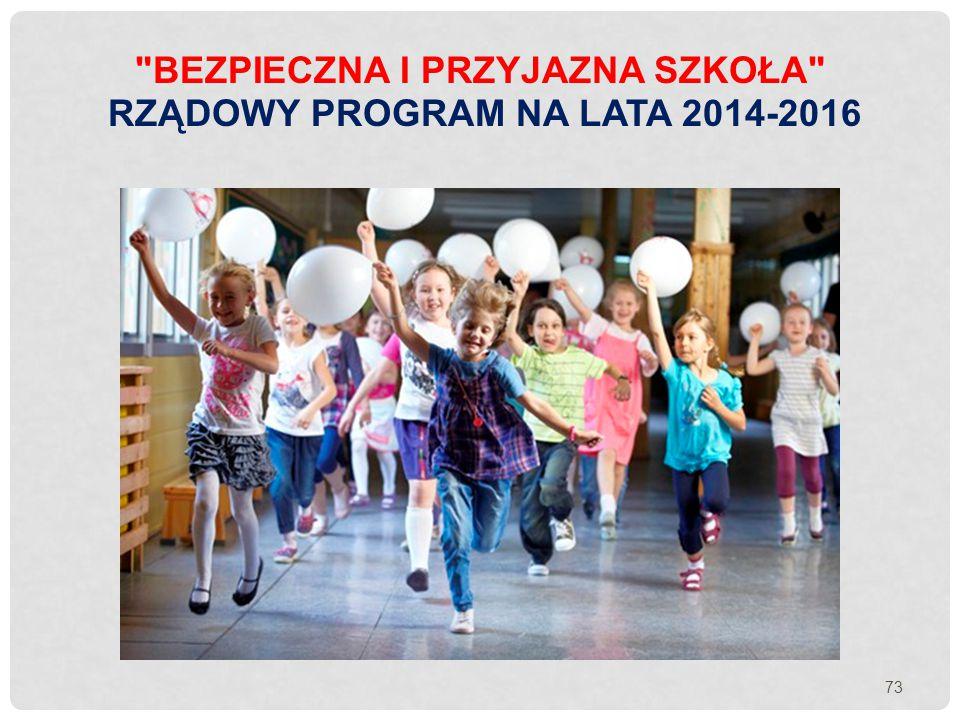 Bezpieczna i przyjazna szkoła Rządowy Program na lata 2014-2016