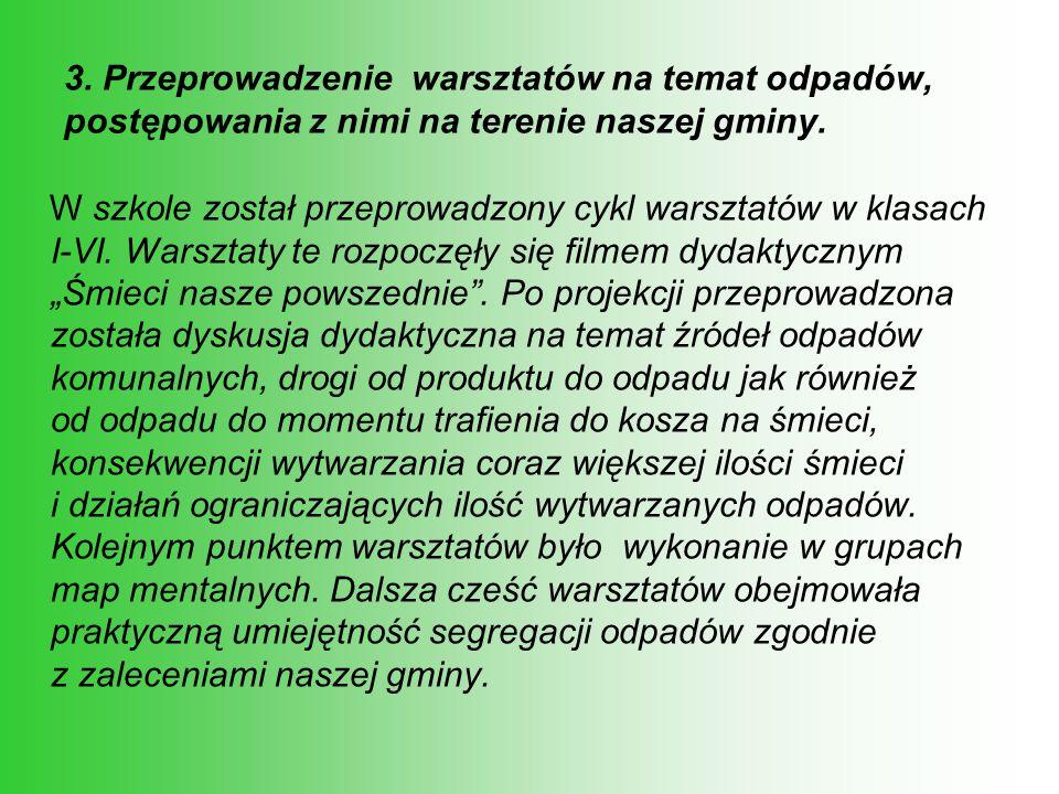 3. Przeprowadzenie warsztatów na temat odpadów, postępowania z nimi na terenie naszej gminy.