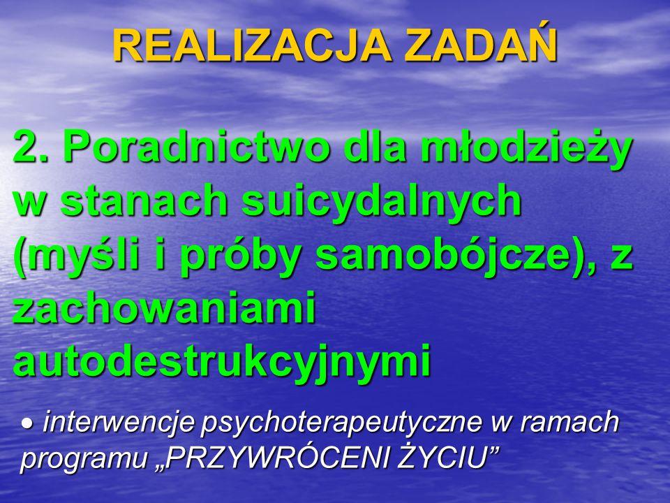 REALIZACJA ZADAŃ 2. Poradnictwo dla młodzieży w stanach suicydalnych (myśli i próby samobójcze), z zachowaniami autodestrukcyjnymi.
