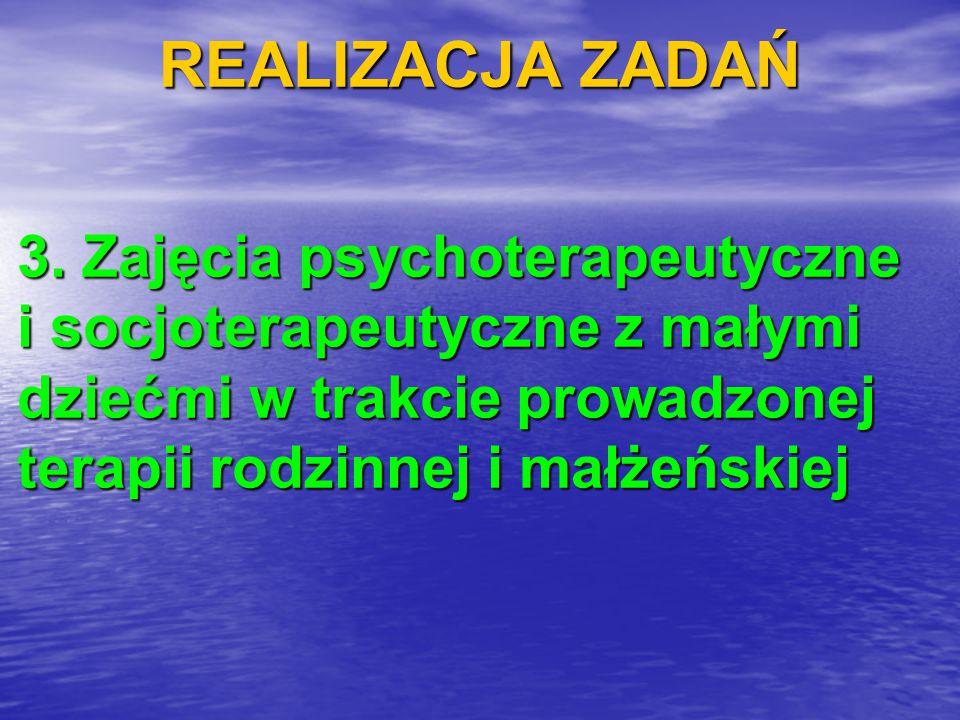 REALIZACJA ZADAŃ 3. Zajęcia psychoterapeutyczne