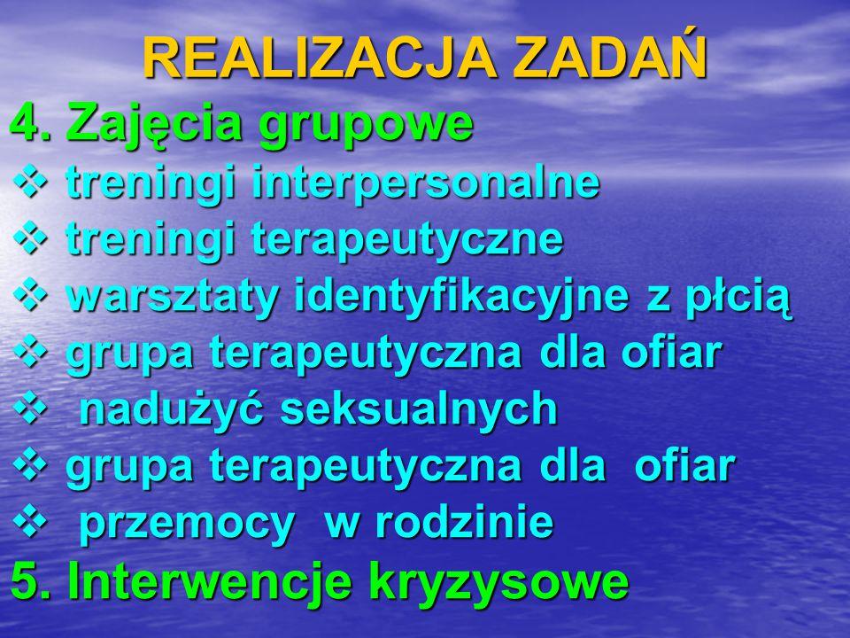 REALIZACJA ZADAŃ 4. Zajęcia grupowe 5. Interwencje kryzysowe
