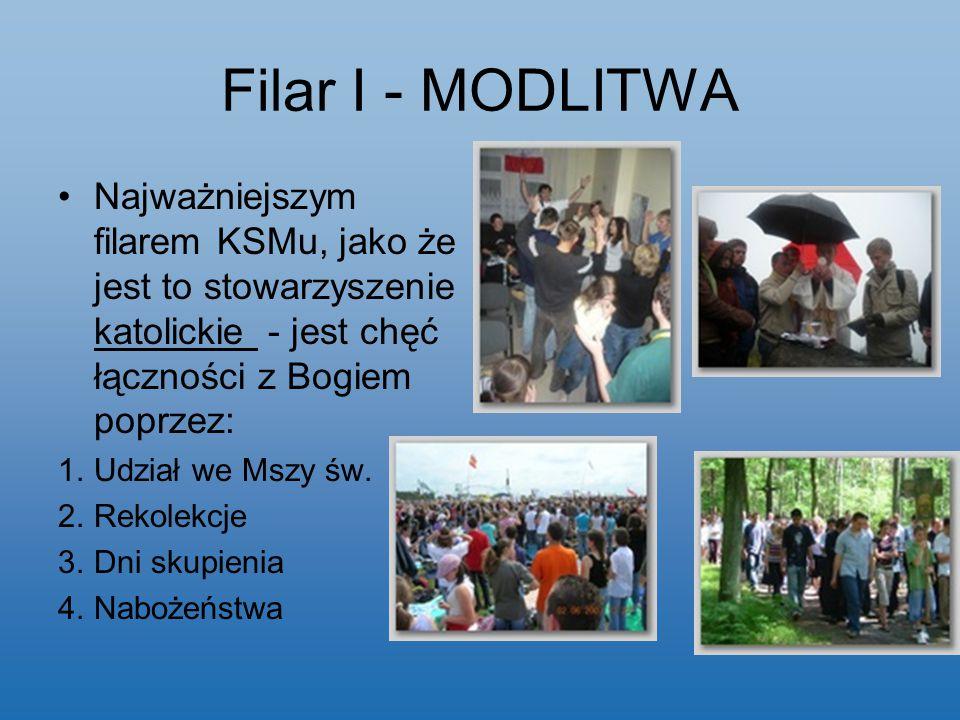 Filar I - MODLITWA Najważniejszym filarem KSMu, jako że jest to stowarzyszenie katolickie - jest chęć łączności z Bogiem poprzez:
