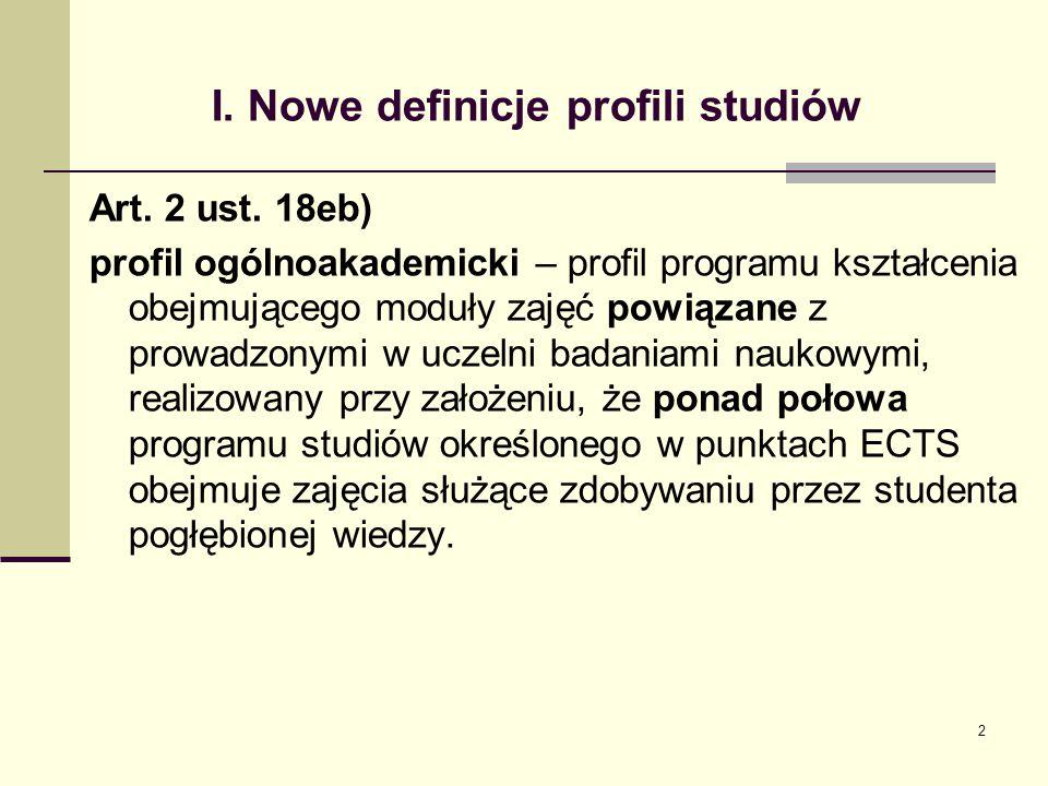 I. Nowe definicje profili studiów