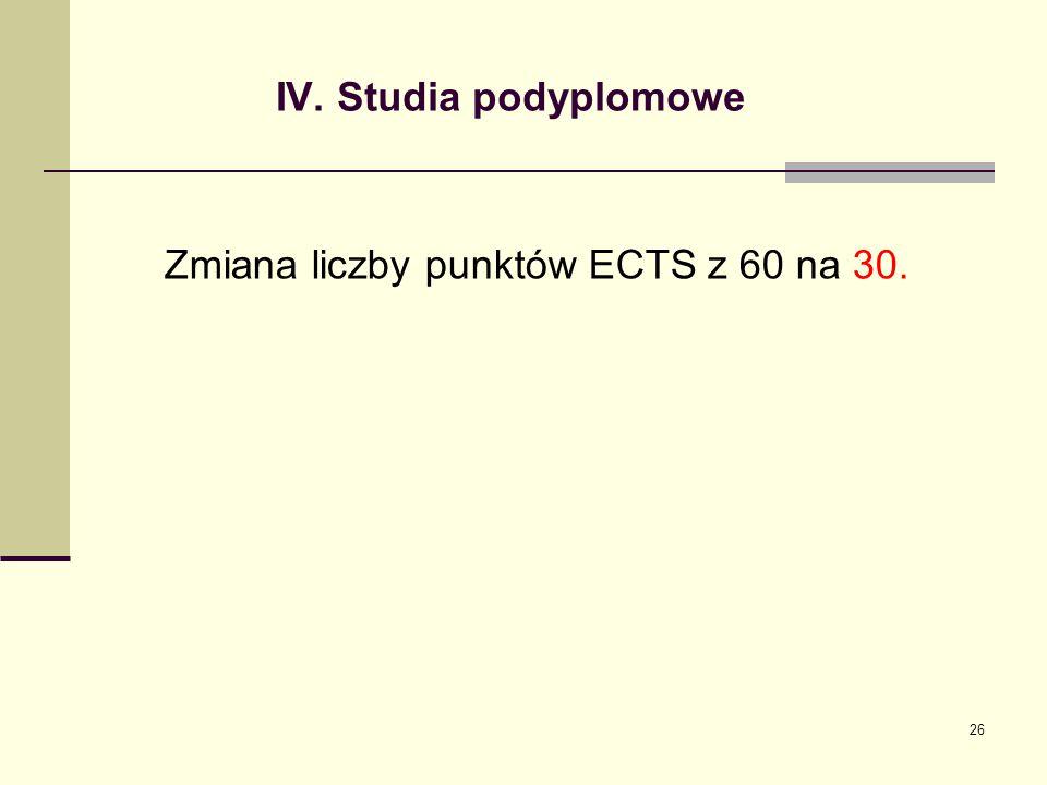 Zmiana liczby punktów ECTS z 60 na 30.