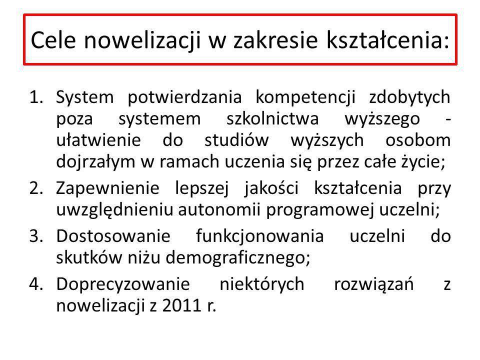 Cele nowelizacji w zakresie kształcenia:
