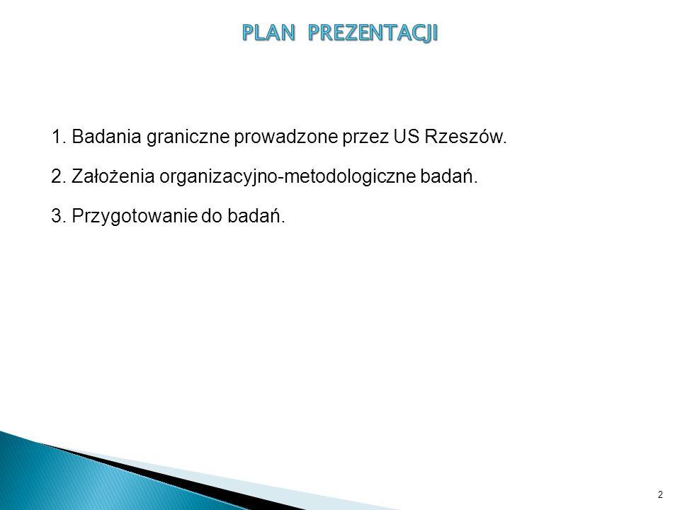 PLAN PREZENTACJI 1. Badania graniczne prowadzone przez US Rzeszów.