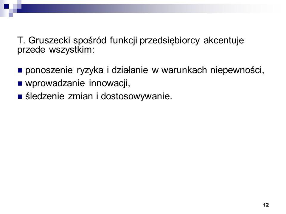 T. Gruszecki spośród funkcji przedsiębiorcy akcentuje przede wszystkim: