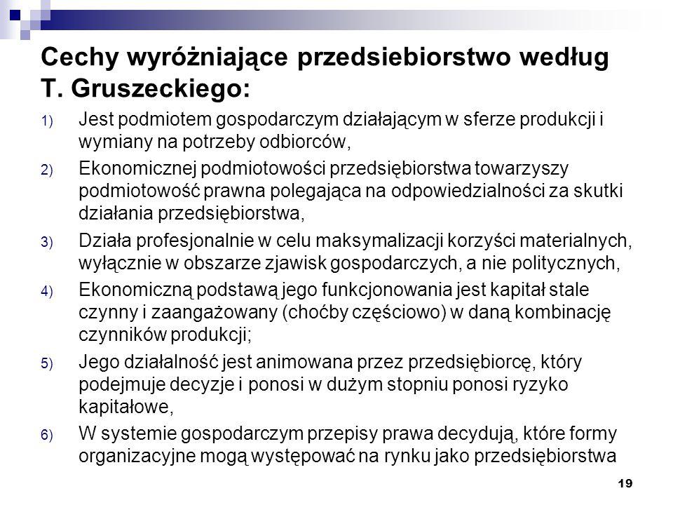 Cechy wyróżniające przedsiebiorstwo według T. Gruszeckiego: