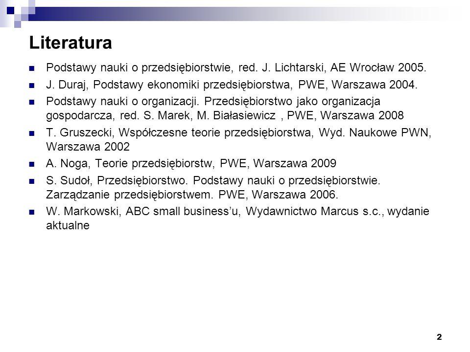 Literatura Podstawy nauki o przedsiębiorstwie, red. J. Lichtarski, AE Wrocław 2005.