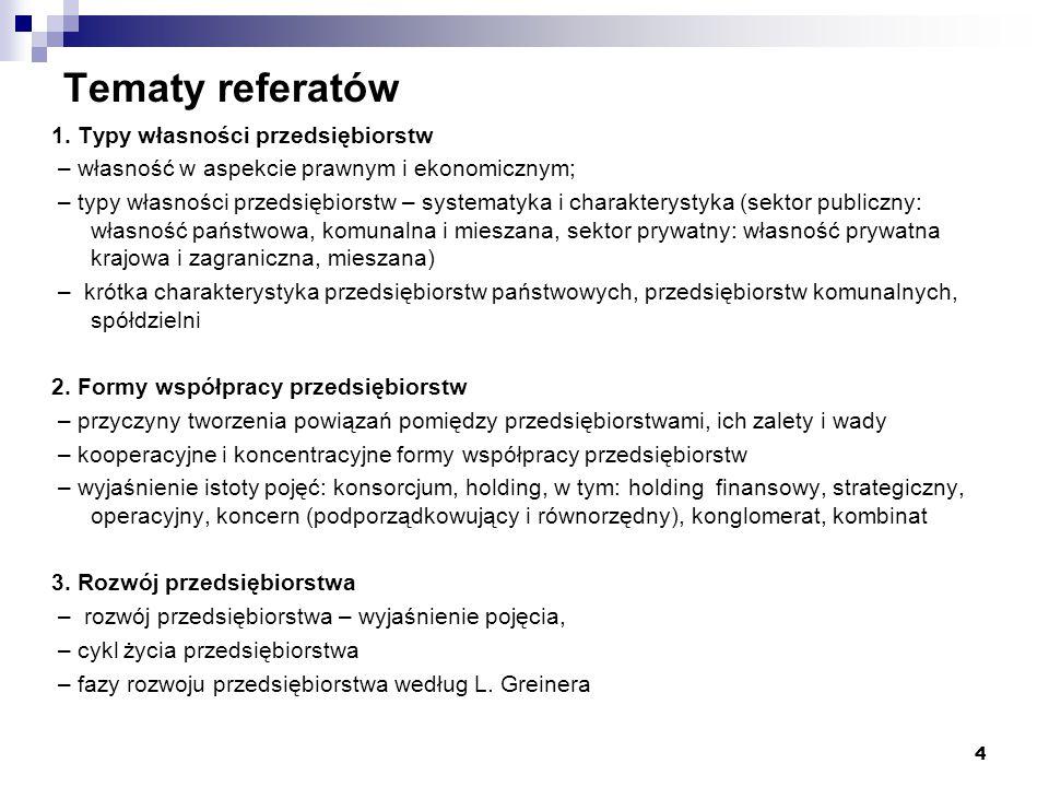 Tematy referatów