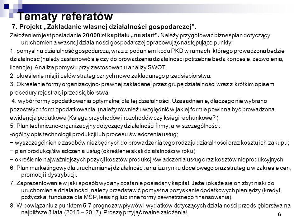 """Tematy referatów 7. Projekt """"Zakładanie własnej działalności gospodarczej ."""