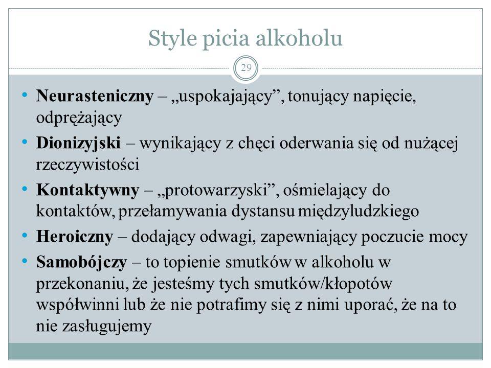 """Style picia alkoholu Neurasteniczny – """"uspokajający , tonujący napięcie, odprężający."""