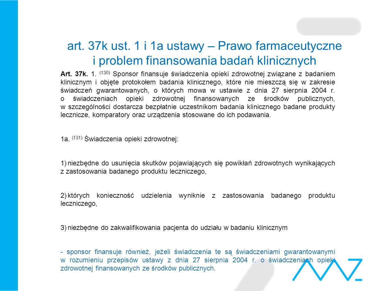 art. 37k ust. 1 i 1a ustawy – Prawo farmaceutyczne i problem finansowania badań klinicznych