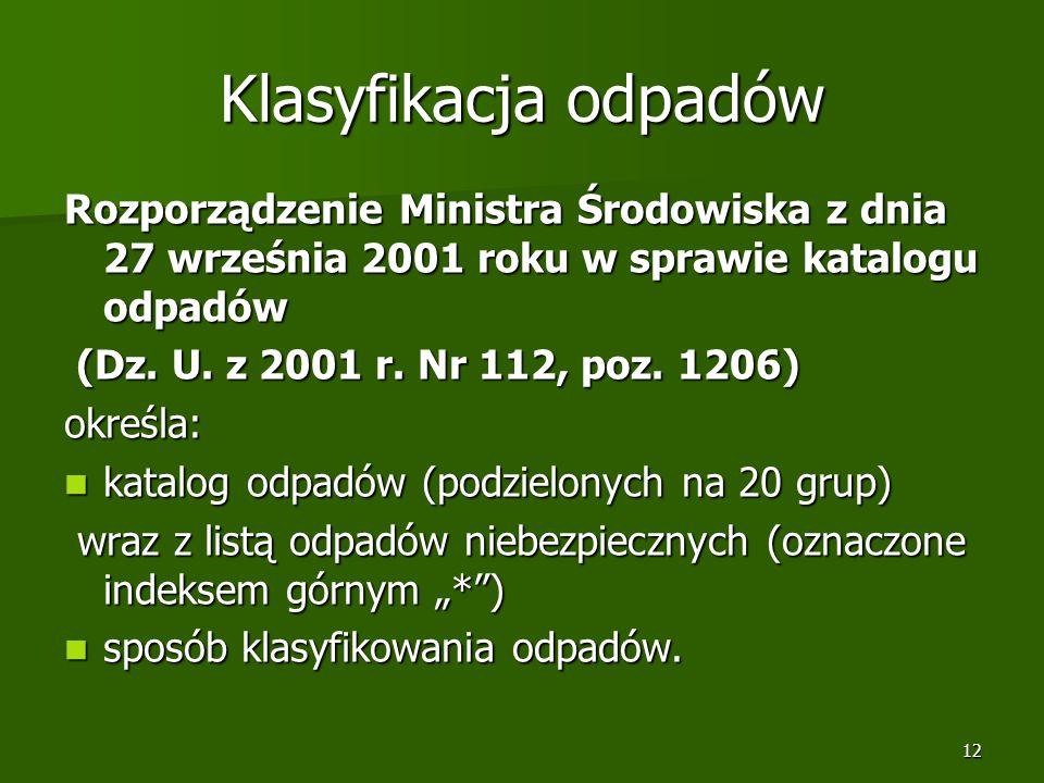 Klasyfikacja odpadów Rozporządzenie Ministra Środowiska z dnia 27 września 2001 roku w sprawie katalogu odpadów.