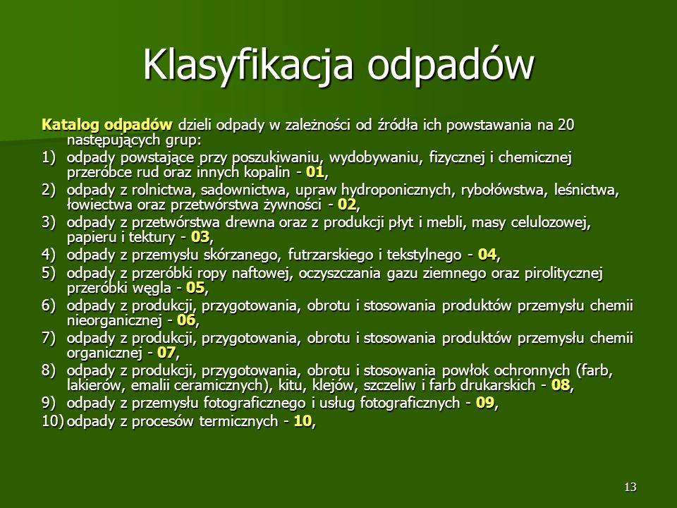 Klasyfikacja odpadów Katalog odpadów dzieli odpady w zależności od źródła ich powstawania na 20 następujących grup: