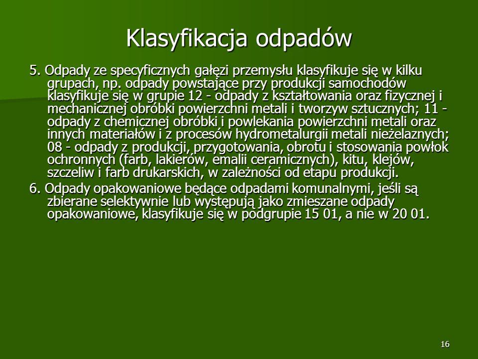 Klasyfikacja odpadów