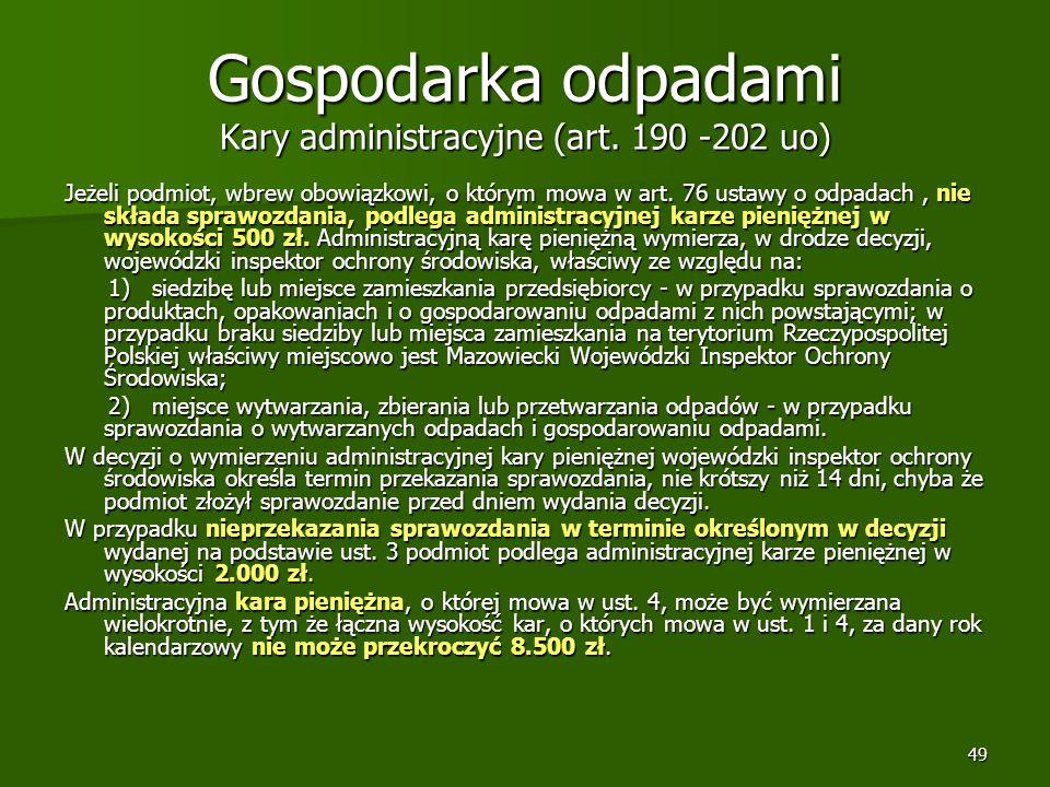 Gospodarka odpadami Kary administracyjne (art. 190 -202 uo)