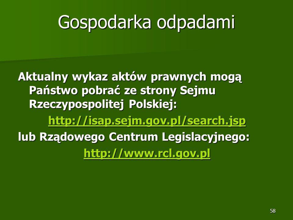 Gospodarka odpadami Aktualny wykaz aktów prawnych mogą Państwo pobrać ze strony Sejmu Rzeczypospolitej Polskiej: