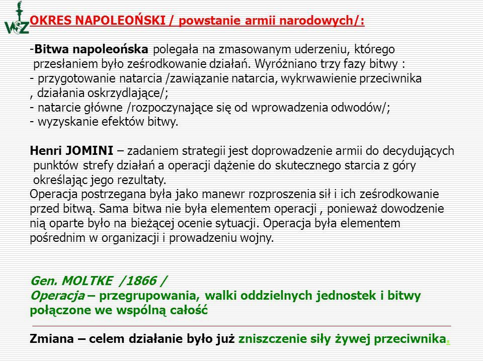 OKRES NAPOLEOŃSKI / powstanie armii narodowych/: