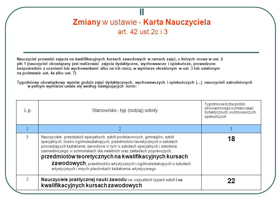 II Zmiany w ustawie - Karta Nauczyciela art. 42 ust.2c i 3