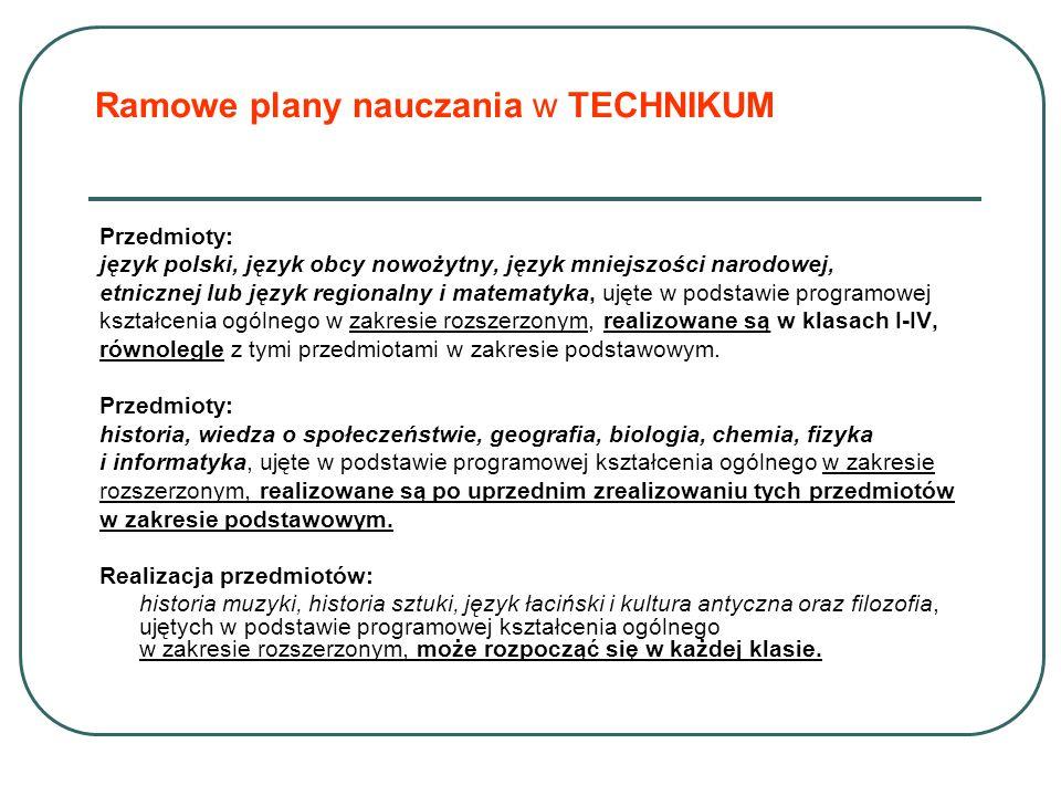 Ramowe plany nauczania w TECHNIKUM