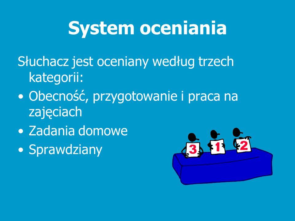 System oceniania Słuchacz jest oceniany według trzech kategorii: