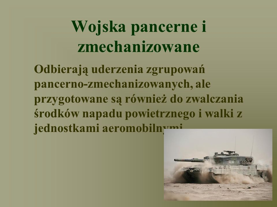 Wojska pancerne i zmechanizowane