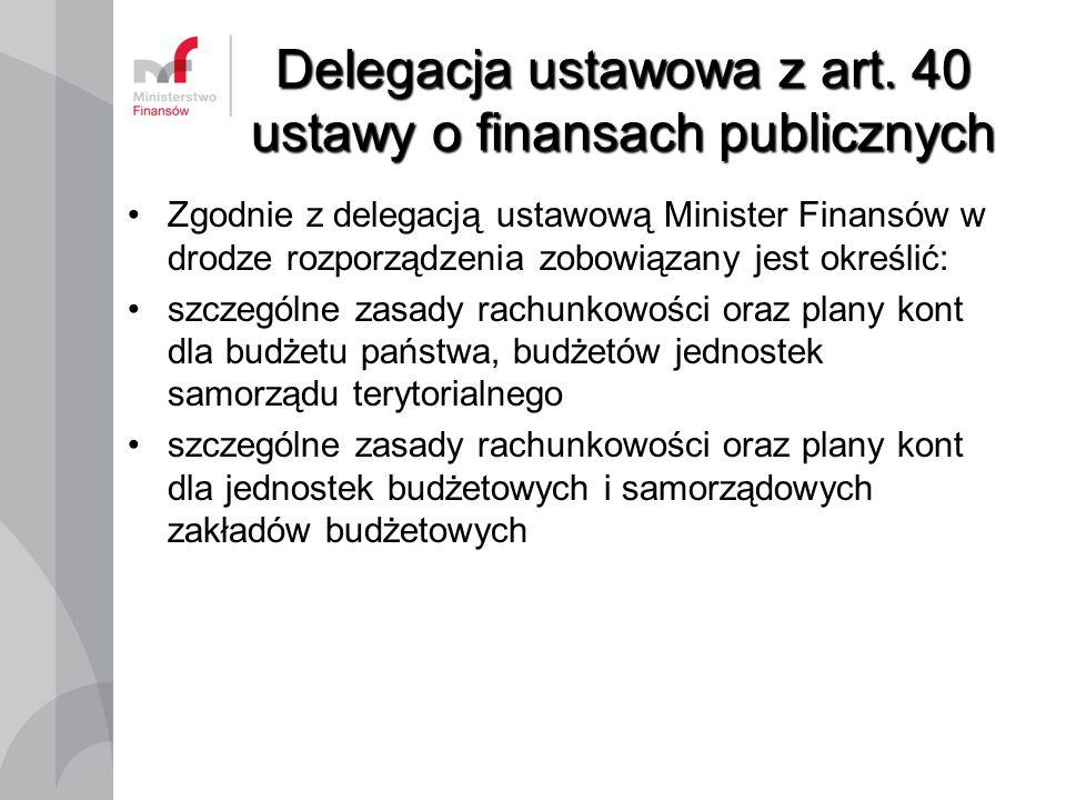 Delegacja ustawowa z art. 40 ustawy o finansach publicznych