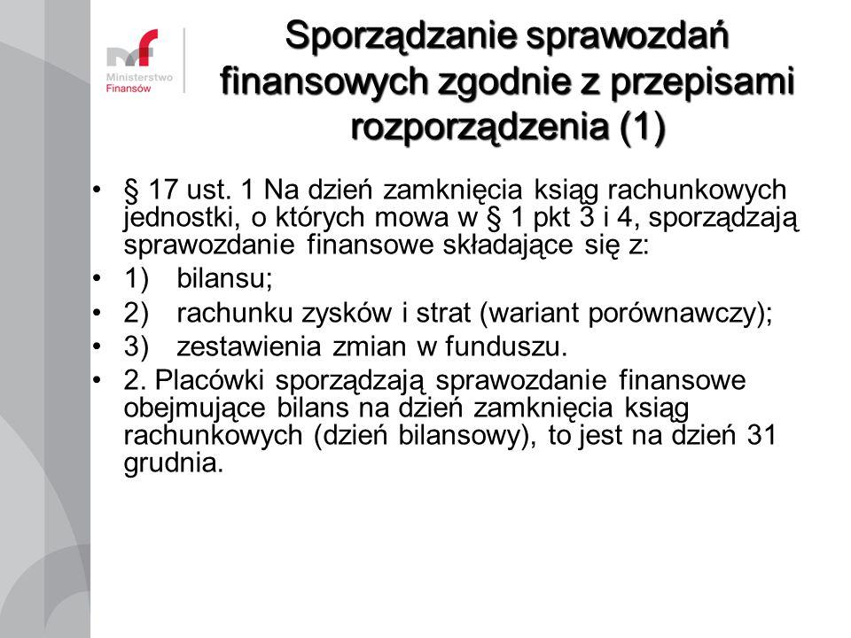 Sporządzanie sprawozdań finansowych zgodnie z przepisami rozporządzenia (1)