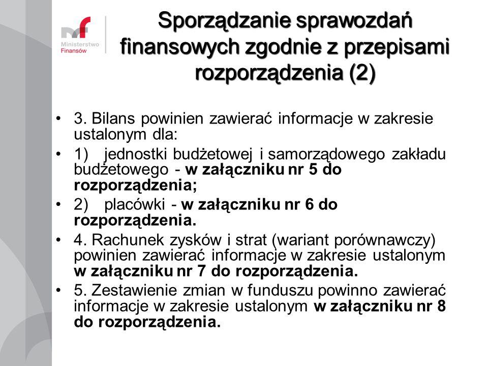 Sporządzanie sprawozdań finansowych zgodnie z przepisami rozporządzenia (2)