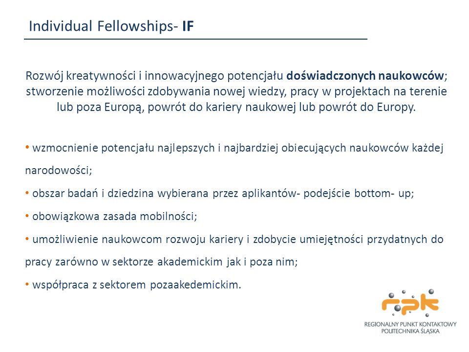 Individual Fellowships- IF