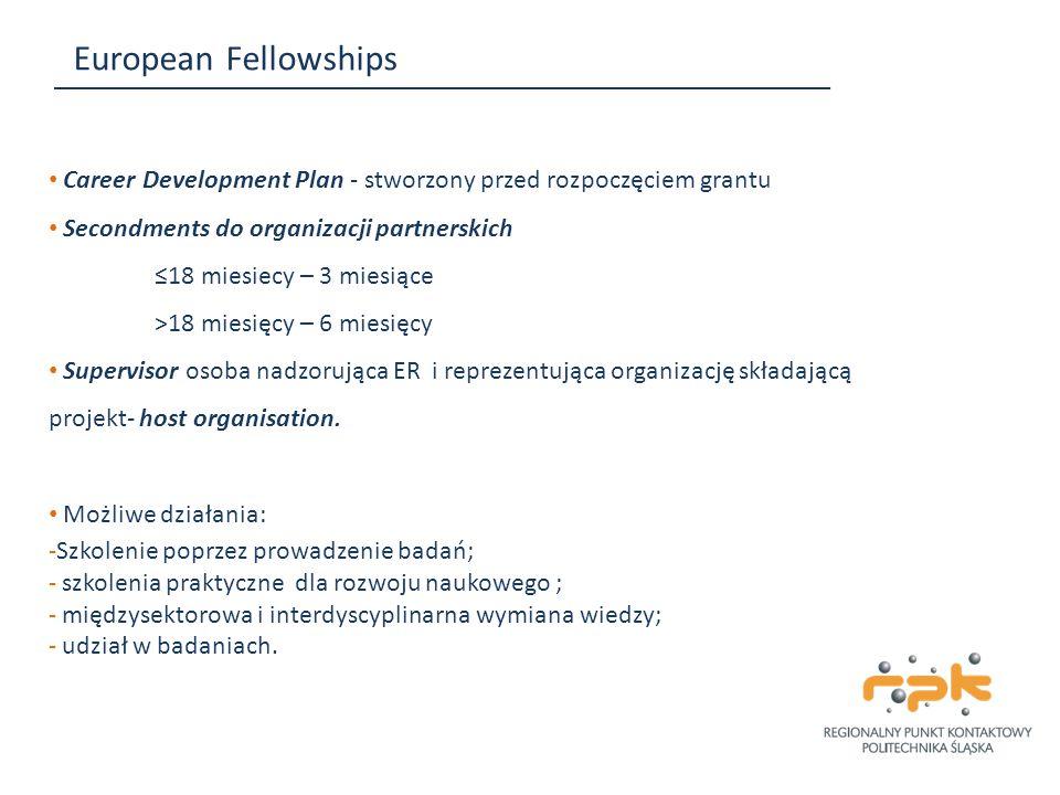 European Fellowships Career Development Plan - stworzony przed rozpoczęciem grantu. Secondments do organizacji partnerskich.
