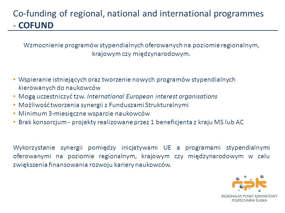 Co-funding of regional, national and international programmes - COFUND