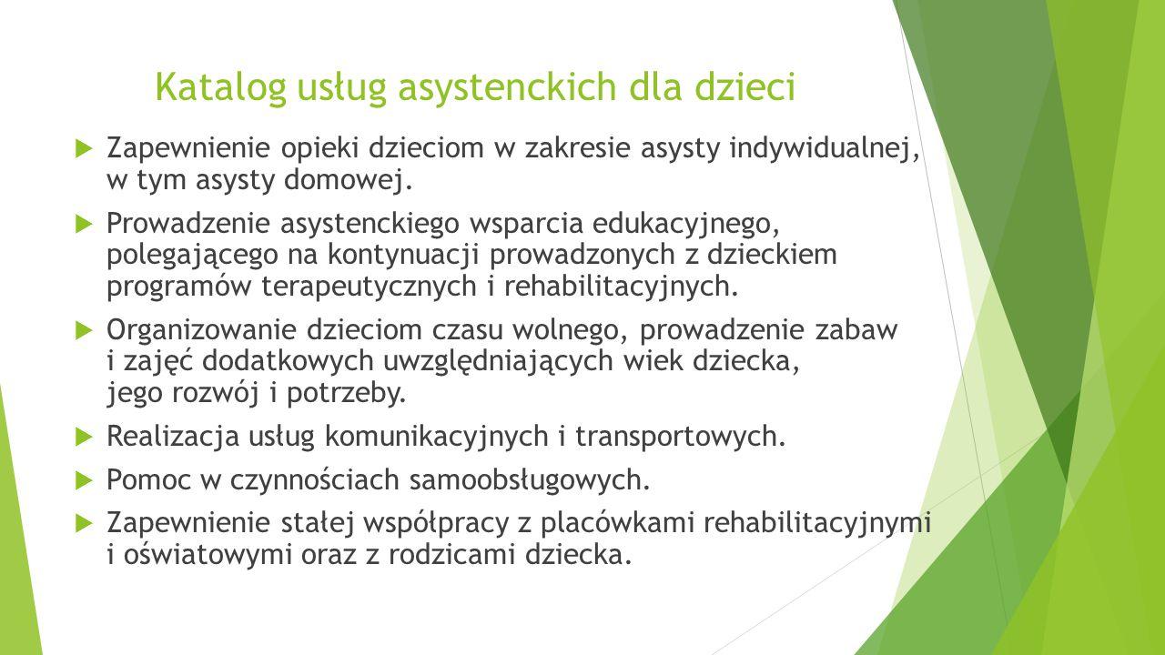 Katalog usług asystenckich dla dzieci