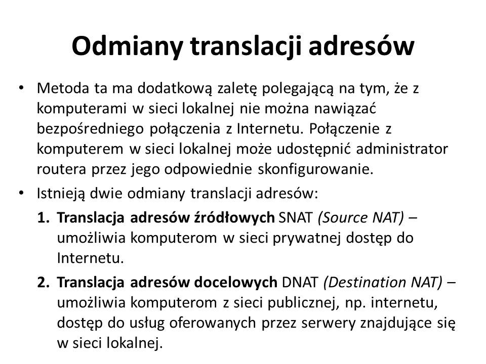 Odmiany translacji adresów