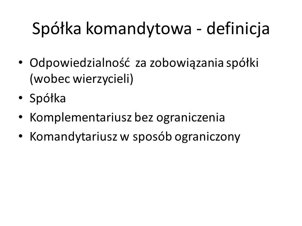 Spółka komandytowa - definicja
