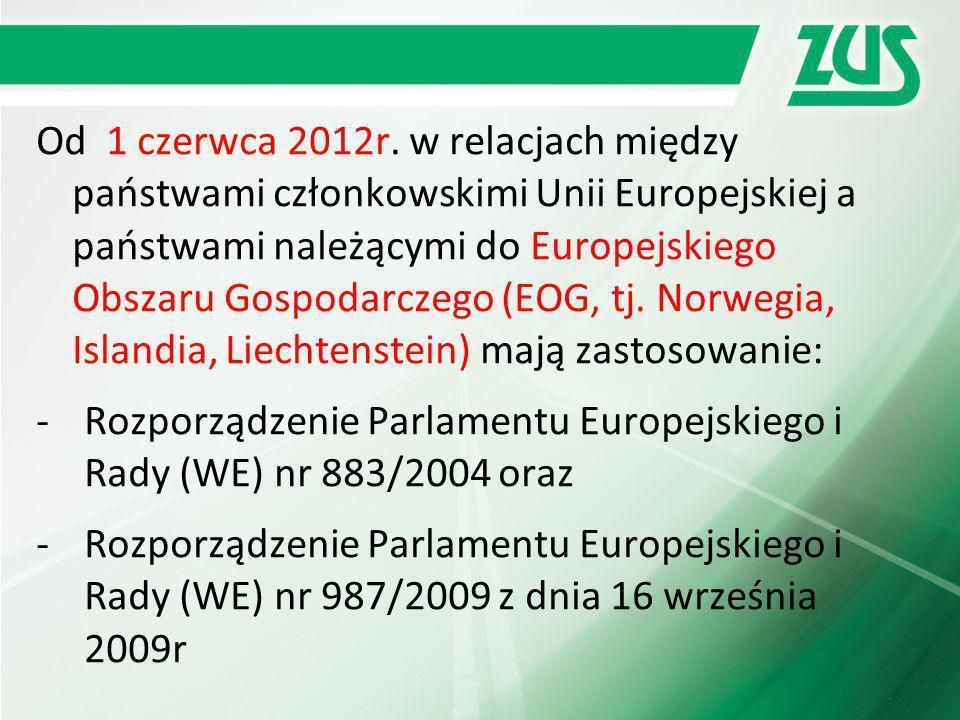 Od 1 czerwca 2012r. w relacjach między państwami członkowskimi Unii Europejskiej a państwami należącymi do Europejskiego Obszaru Gospodarczego (EOG, tj. Norwegia, Islandia, Liechtenstein) mają zastosowanie: