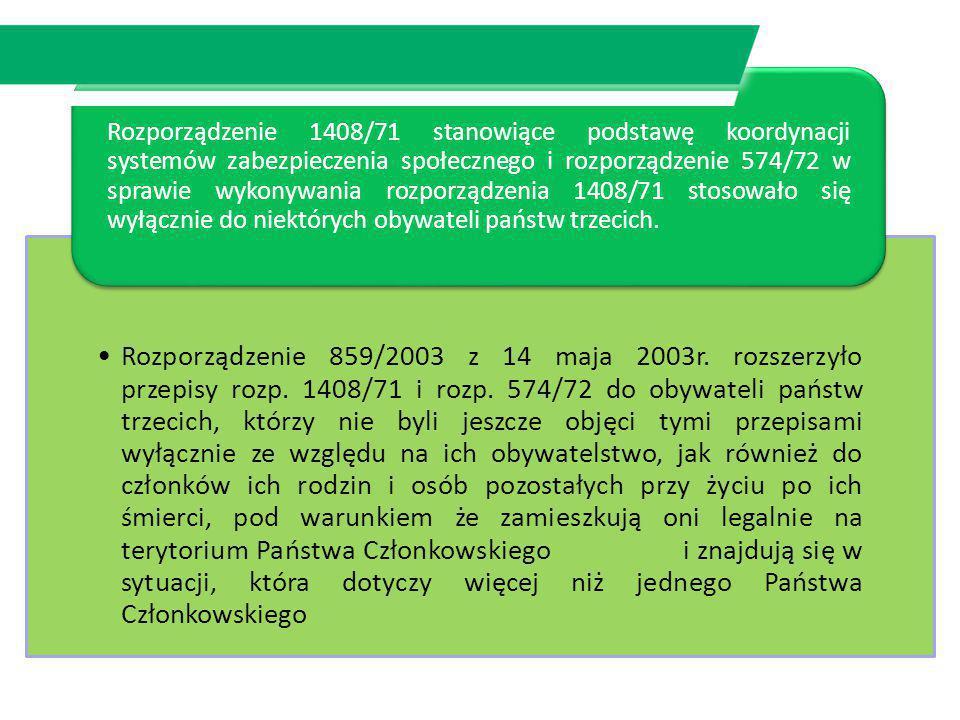 Rozporządzenie 1408/71 stanowiące podstawę koordynacji systemów zabezpieczenia społecznego i rozporządzenie 574/72 w sprawie wykonywania rozporządzenia 1408/71 stosowało się wyłącznie do niektórych obywateli państw trzecich.