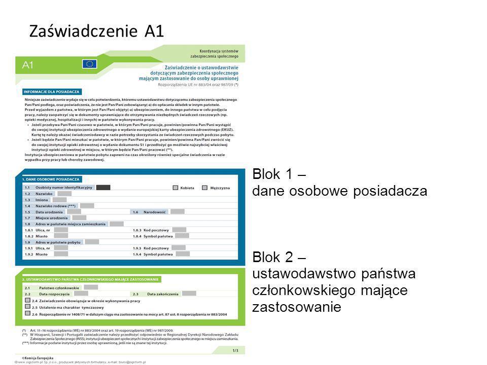 Zaświadczenie A1 Blok 1 – dane osobowe posiadacza Blok 2 –