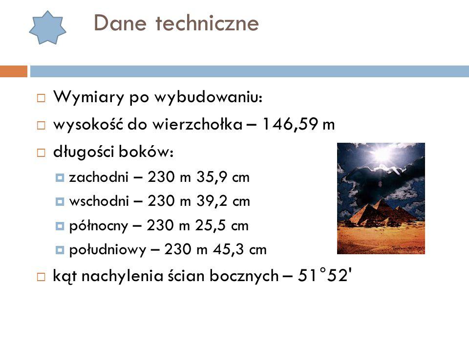 Dane techniczne Wymiary po wybudowaniu: