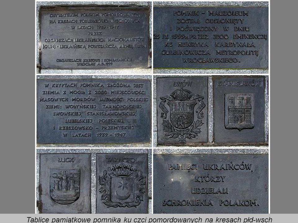 Tablice pamiątkowe pomnika ku czci pomordowanych na kresach płd-wsch