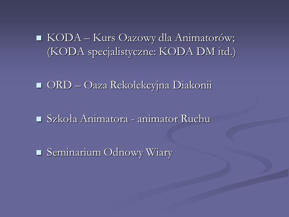KODA – Kurs Oazowy dla Animatorów; (KODA specjalistyczne: KODA DM itd