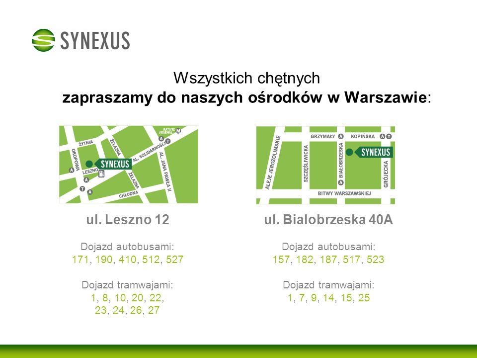 Wszystkich chętnych zapraszamy do naszych ośrodków w Warszawie: