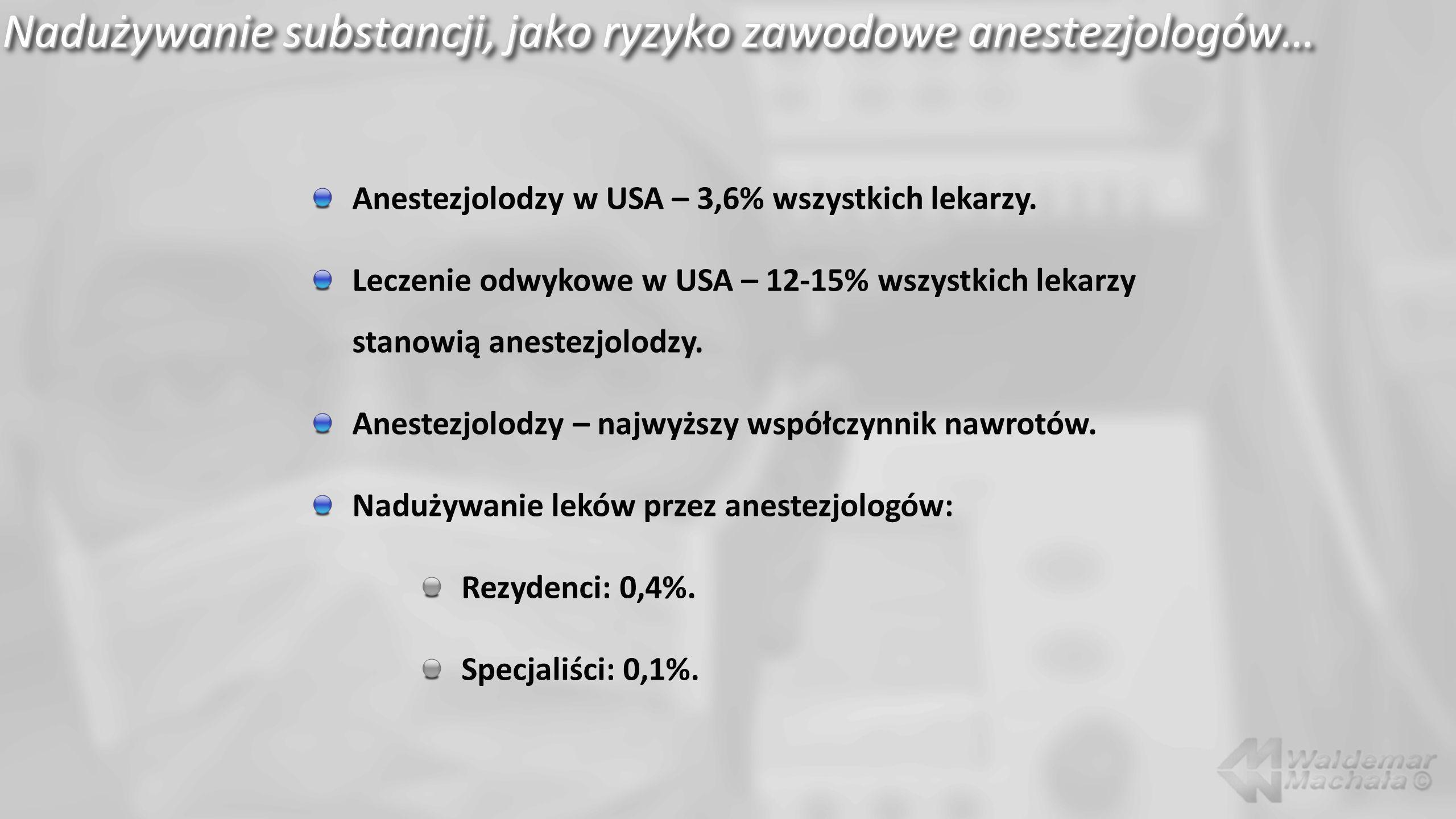 Nadużywanie substancji, jako ryzyko zawodowe anestezjologów…
