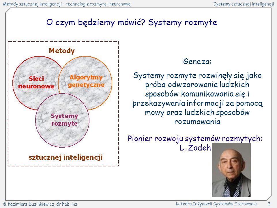 O czym będziemy mówić Systemy rozmyte